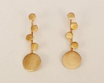 Long gold multi circle stud earrings , geometric 2 inch bubble earrings, plain minimalist earrings