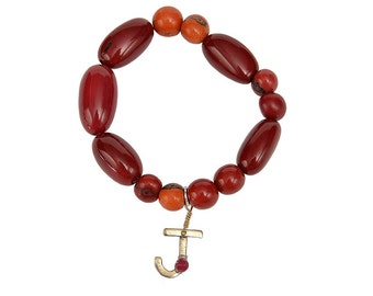 Garnet orange tagua bracelet, custom beaded stretch bracelet, initial alphabet letter bangle jewelry