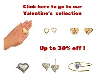 Valentines heart jewelry on sale, silver and gold heart stud earrings, romantic handmade jewelry gift