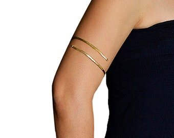Gold or silver upper arm cuff, minimalist thin upper bracelet, delicate hammered upper arm cuff bracelet