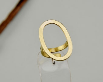 Index finger ring, open oval ring, adjustable ring, brass minimal ring, gold tone jewelry, simple band, middle finger ring, large plain ring