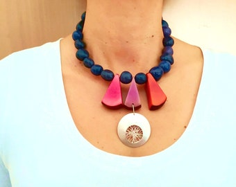 Statement  silver navy and multicolor necklace, tribal chunky African fair trade necklace, triangle boho tagua nut necklace