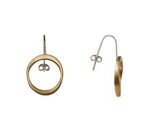 Plain gold small hoop earrings, open circle brass  earrings, short drop oval earrings