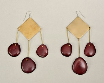 Garnet extra large tagua nut earrings, long square 4 inches gold red earrings, statement tribal  XL earrings