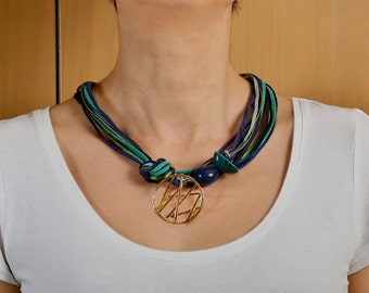 Statement multi strand fashion necklace for women, circle pendant beaded necklace, gold pendant green blue cord necklace