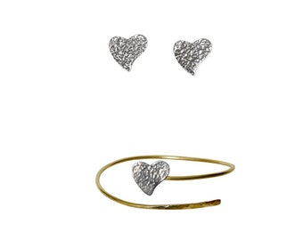 Thin gold heart hammered bracelet and heart earrings set, sterling silver heart studs and heart bangle, handmade heart jewelry set