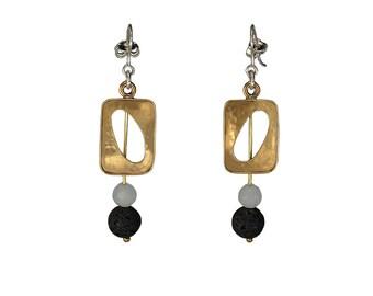 Gold rectangular dangle earrings,  square black bead earrings, lava long drop geometric earrings