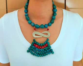 Tribal  African turquoise  rustic necklace, tagua nut big chunky necklace for women , custom statement  bohemian  jewelry