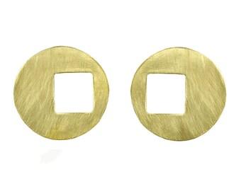 Large disc earrings, gold disc earrings, custom stud earrings, African earrings, brass round earrings, extra large disc, statement earrings