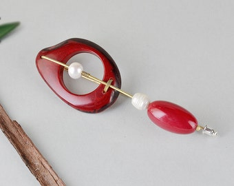 Tagua brooch, red bead brooch, artisan jewelry, large organic pin, chunky jewelry, rustic jewelry, women pin, pearl brooch, seeds jewelry