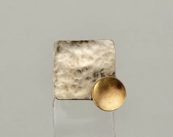 Mixed metals  square plain ring, alpaca and brass rectangular ring, artisan rustic geometric jewelry