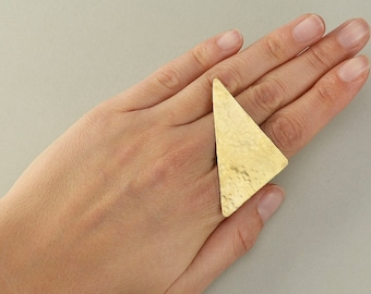 Gold or silver large triangle ring, hammered brass  dramatic jewelry, multi finger contemporary ring