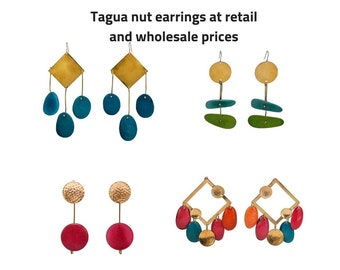 Wholesale  gold tribal chunky earrings, wholesale tagua nut earrings, statement large drop and stud earrings