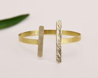 Asymmetric gold silver bangle , open minimalist bar cuff bracelet, mixed metal hammered jewelry
