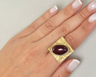 Large gold ring, garnet bead ring, red gold ring, statement ring, boho ring, adjustable ring, tagua jewelry, index ring, middle finger ring