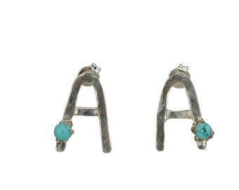 Sterling silver letter  custom stud earrings, turquoise personalized studs , monogram initial A post earrings