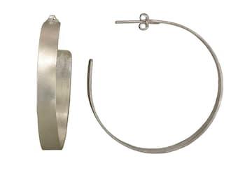 Sterling silver large 2 inches hoop earrings, gypsy big handmade women  hoops, thick custom boho stud hoops
