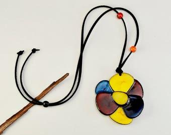 Large flower  tagua nut necklace, statement boho nature necklace, rainbow fashion jewelry