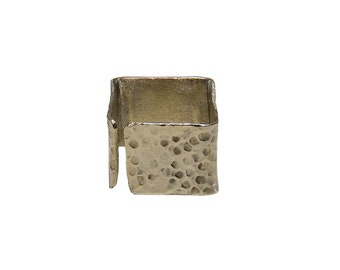 Pinky silver or gold square ring,  wide open band ring, contemporary hammered jewelry