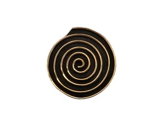 Gold circle 4 cm large pendant, disc geometric Greek spiral jewelry , black oxidized plain pendant
