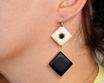 Gold diamond shape dangle earrings , black onyx drop earrings , black tagua statement earrings