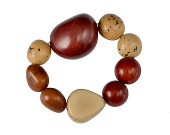 Brown beige large beads bracelet , organic statement jewelry, tagua  nut stretchy chunky bracelet