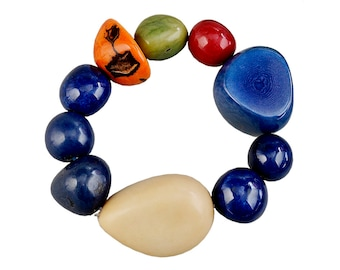 Tagua nut bracelet, navy blue bangle, large beads bracelet, big cuff, adjustable chunky bracelet, vegetable ivory, colorful bold bangle