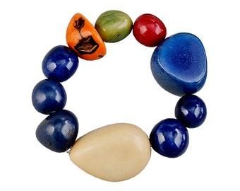 Blue bold tagua nut bracelet, large beads bohemian  bracelet, multicolor colorful stretch bangle