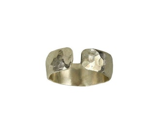 Silver simple hammered open band ring, plain wide pinky ring, little finger thick band