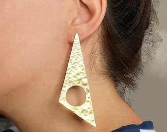Gold or silver giant triangle earrings, edgy geometric stud earrings, extra large long tribal brass earrings