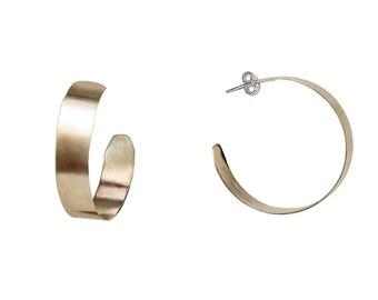 Sterling silver large hoop earrings, big creole 35 mm hammered hoops, plain wide stud hoop earrings