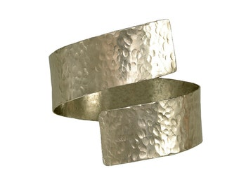 Thick hammered  arm cuff bracelet, silver or gold wide custom bangle bracelet, chunky open men women  bracelet
