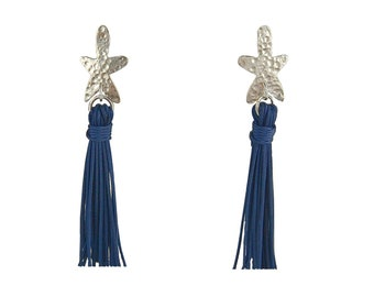 Navy tassel earrings, boho tassel earrings, silver flower earrings, long tassel earrings, stud tassel earrings, bohemian jewelry, fall gift