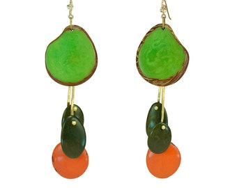 Green orange extra large chandelier tagua earrings, gold or silver custom statement jewelry , tribal brutalist bohemian earrings