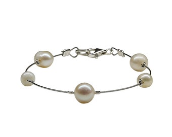 Delicate pearl bracelet, white fresh water pearl bangle, bridesmaid bride bracelet under 15
