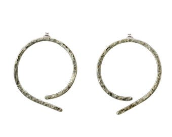Sterling silver thin hammered hoop earrings, simple large stud hoops, big circle minimalist earrings