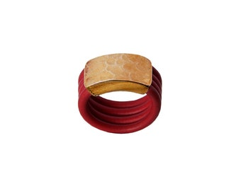 Gold silicone pinky band ring , little finger red wide ring, midi thick ring for women