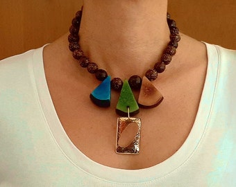 Statement  gold brown tagua necklace, large colorful tagua nut jewelry , geometric water fall chunky necklace