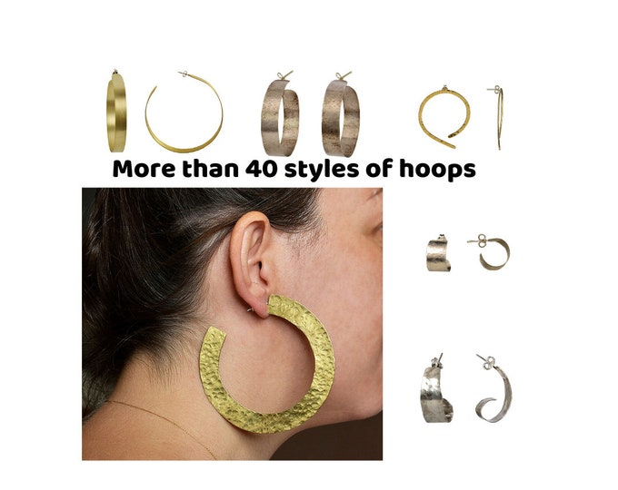 Featured listing image: Small gold brass wide creole hoop earrings , sterling silver thick hoops, women tribal extra large hoop earrings