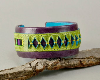 Purple leather bracelet, chunky cuff, ethnic jewelry, fat circlet, boho bangle, rainbow jewelry, women bangle, unique gift idea