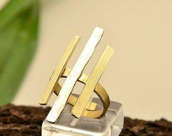 Mixed metals bars ring, long linear minimalist ring, silver gold adjustable ring