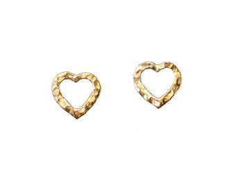Tiny heart gold stud earrings, hammered hearts, brass post minimalist earrings, valentines everyday jewelry
