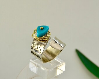 Turquoise bead hammered silver ring, alpaca ring finger cuff band ring,  women men index wrap ring