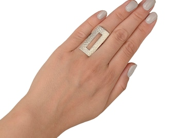 Sterling silver large rectangular ring, full finger boho ring, long square index ring