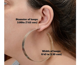 Silver or gold giant 3 inches hoops,  extra large stud wide hoops, lightweight creole hammered hoop earrings