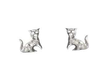 Sterling silver cat studs, cat earrings, tiny stud earrings, pet lover gift, children earrings, girl studs, 1 cm stud,  animal earrings