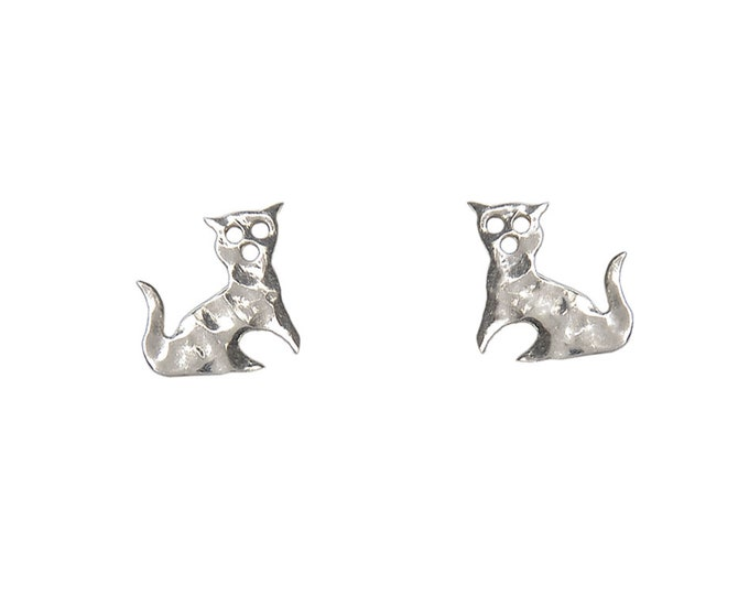 Featured listing image: Sterling silver cat studs, tiny cat  10 mm  stud earrings, pet lover gift, children animal earrings