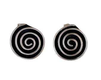 Spiral disc earring studs, silver eternity earrings, boho earrings, black oxidized earrings, alpaca jewelry, karma posts, geometric earrings