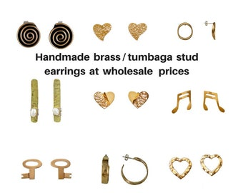Wholesale stud earrings, earring stud finding, handmade earrings, women earrings, brass earrings, hammered earrings, heart stud, earring lot