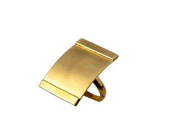 Gold rectangular long ring, 30 mm index or middle finger ring, square full finger ring